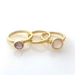 3 Piece Stone Gold Ring Set Size 6 & 7 Pink Purple